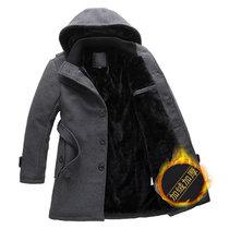 BEBEERU秋冬加厚连帽中长款修身风衣外套  男士修身韩版毛呢休闲大衣818 值得(818灰色)