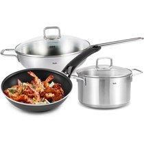 不锈钢中式炒锅家用烹饪锅具三件套平底汤锅煎锅套装