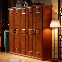 美天樂 中式全實木衣柜臥室整體衣櫥三門四門五門六門組合轉角實木大衣柜(櫸木色 單衣柜)