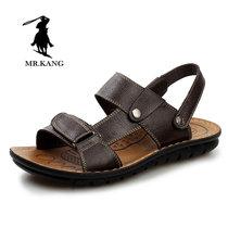 米斯康MR.KANG 男凉鞋软皮真品沙滩鞋 男士鞋夏季头层软牛皮大码男鞋透气5865(棕色 40)