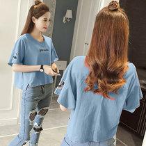超火cec短袖t恤女春夏装2019新款韩版宽松纯棉半袖ins港味上衣潮(桔色 XL)