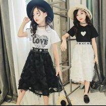 女童套裝裙夏裝2019新款兒童中大童夏季超洋氣網紅時髦套裝童裝潮(s 白)