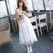 Mistletoe2017新款女装长裙 潮流新品无袖蕾丝绣花夏季雪纺连衣裙F6661(白色 L)