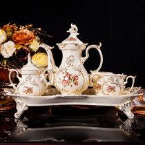 咖啡杯欧式茶具套装 英式下午茶骨瓷套装 陶瓷咖啡具套装雕刻玫瑰礼盒包装(默认)