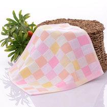 木兒家居 全棉兒童毛巾方格洗臉巾舒適親膚吸汗巾方巾 兒童毛巾(粉色)