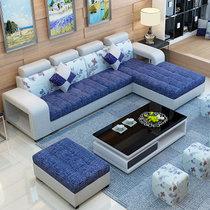 紫茉莉布藝沙發小戶型沙發客廳沙發轉角沙發組合三件套組合小戶型簡約沙發(顏色請下單 備注 單+雙+貴送地毯)