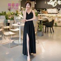 莉菲姿 夏季度假连衣裙气质小性感前双交叉吊带长裙显瘦女裙子(黑色)