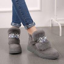 2017秋冬季新款兔毛短靴女靴子加厚绒保暖雪地靴平底豆豆毛毛棉鞋(41)(灰色水晶)