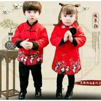 小孩红色过年服礼服中国风女童装男宝宝复古唐装洋气十件装(xs 白)