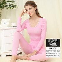 【浪莎】美體內衣 女士蕾絲束身基礎套裝 秋衣秋褲 V領秋冬保暖套裝(MK5012/粉紅色 均碼170CM以內)