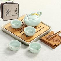 竹制茶具套装陶瓷小茶盘小号干泡茶台日式旅行 整套功夫茶具茶海(汝窑陶色茶台  旅行袋-)
