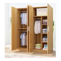 萊德順衣柜免漆板簡約現代 臥室收納儲物柜四門大衣柜YG001(胡桃色 默認)