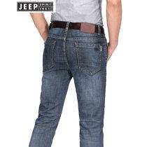 JEEP吉普牛仔裤男春秋舒适微弹青年牛仔长裤男装时尚休闲直筒牛仔男裤子(2J-235蓝色 42对应腰围3尺1)