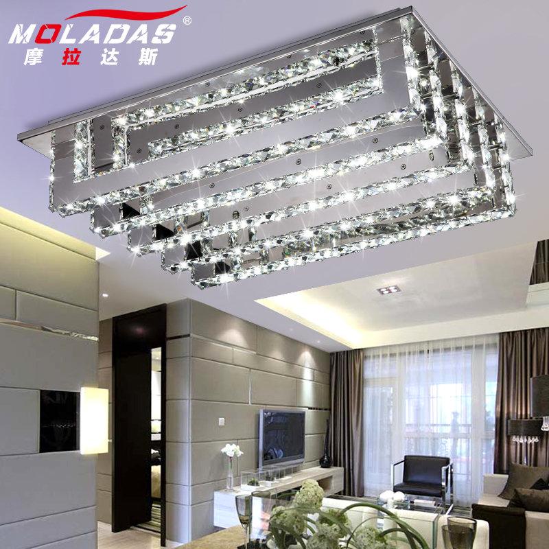 摩拉达斯现代简约客厅灯具led吸顶灯创意长条四方水晶