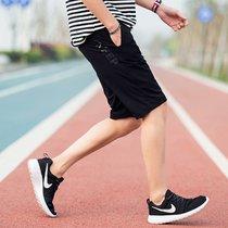 威路曼 短褲男寬松大碼運動男士休閑短褲沙灘褲男韓版薄款彈力速干五分褲男(黑色 2XL)