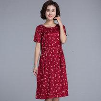 恒源祥中年夏装雪纺短袖连衣裙2019新款中老年女装碎花长裙妈妈装F(3975红色3 XL)