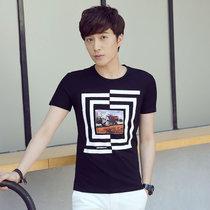 卡郎琪 男士新款夏装韩版短袖T恤 男圆领简约复古时尚图形素色舒适青年短袖T恤(KLQDQC1690-1黑色 3XL)