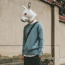 毛衣男春秋季潮流寬松圓領針織衫純色青少年學生日系上衣男(淺綠色 XL)