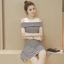Mistletoe连衣裙夏季大码女装修身露肩A字裙中长款黑白条纹裙子(白色 XXL)