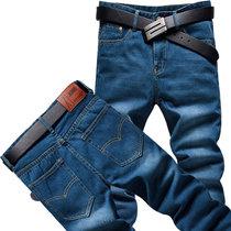新款秋装加绒长裤男装韩版潮直筒休闲加大码男士牛仔裤 Y6698 值得(604蓝色)