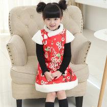 儿童唐装旗袍2018新款女童马甲背心裙冬装新年装夹棉中长款公主裙(150(身高140-150))