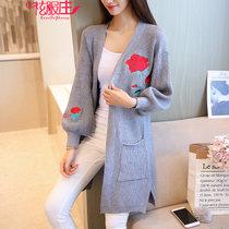 袨服庄2017秋装新款针织开衫女装外套中长款毛衣女上衣4961(灰色 均码)