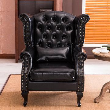 万诚欧式沙发休闲客厅复古皮质组合沙发(亮黑色 单人沙发)