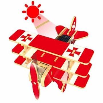 模型玩具 若态科技 木质拼装拼搭太阳能飞机模型男爵三翼飞机p250