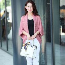 嬌維安 春季針織衫 韓版女裝外套 蝙蝠袖披肩 中袖針織開衫 女(皮粉色 均碼)
