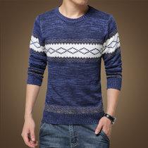 男装秋装男士针织衫潮韩版外套男士粗线圆领拼接套头毛衣男S1615--1(蓝色 XL)