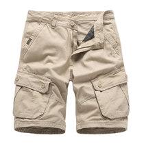 2019夏季男装宽松工装裤短裤男大码多口袋五分裤(卡其色 38)