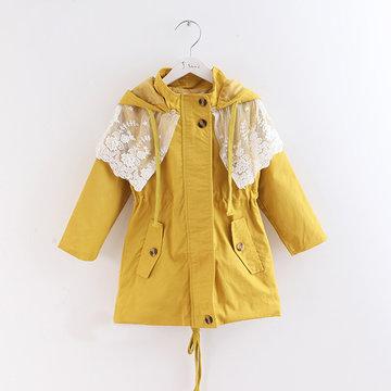 童装女童秋装2014新款女童风衣外套韩版蕾丝中大儿童中长款外套(姜