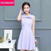VEGININA 2017夏季新款V领连衣裙显瘦修身裙子韩版小香风无袖短裙 9373(紫罗兰 XL)