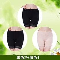 【浪莎3條】安全褲女士性感蕾絲打底褲防走光內褲女三分平角褲(膚色1黑色2)