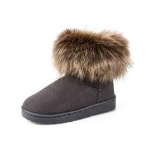 羊骑士 雪地靴女短筒靴子冬季新款加绒女靴韩版百搭短靴学生?#38477;?#26825;靴女鞋棉鞋经典款雪地靴子(FS196灰色 40)