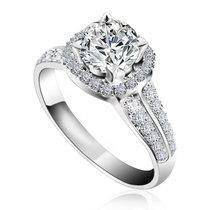 夢克拉Mkela 白18K金鉆石戒指 皇室傳奇 鉆石戒指群鑲結婚戒指鉆石女戒1克拉效果