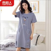南極人睡裙女夏季純棉薄款短袖睡衣家居服韓版可愛卡通寬松連衣裙(中灰火烈鳥3302 L)