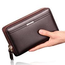 男士钱包手包男包复古手拿包PU皮手包拉链包(棕色 横款)