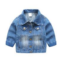 贝壳元素牛仔外套春秋装新款男童童装翻领长袖牛仔衣wt8823(150 浅蓝色)