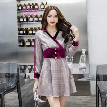 莉菲姿 2019新款时尚女装V领不规则格子连衣裙女长袖裙子A字裙(图色)