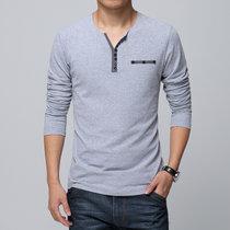 花花公子贵宾纯色棉V领男士长袖T恤 男式长袖紧身汗衫打底衫男运动修身春夏装J680(灰色)