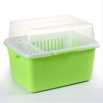 家英 带盖欧式沥水碗架 餐具收纳盒(浅绿色ph1102)