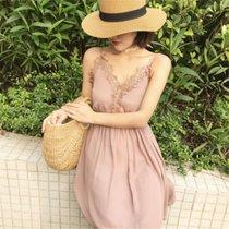 2018夏季新品性感气?#24066;?#36523;纯色镂空蕾丝花边V领吊带连衣裙大摆裙  均码(巧克力色)(均码)