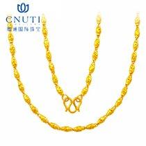 CNUTI粤通国际珠宝 黄金项链 足金 车花橄榄钉沙单链 约11.05g