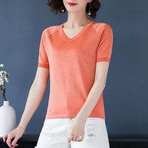 恒源祥薄款针织衫女套头2019夏季新款短袖t恤小衫亮丝点缀V领上衣F(橙色 170/92A)