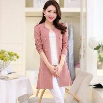 娇维安 春季中长款女装外套 韩版毛衣针织衫 时尚针织开衫 女(皮粉色 均码)