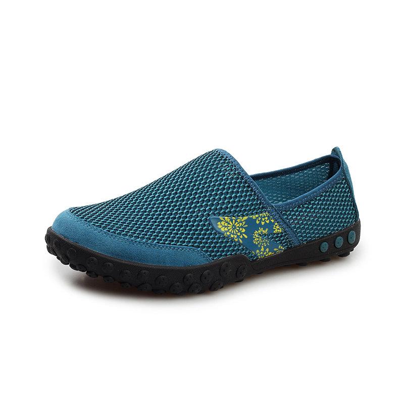雅其尚品 夏季透气男鞋天窗鞋网面透气鞋男休闲鞋懒人鞋 sm1215 (蓝色