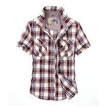 夏装薄款战地吉普AFSJEEP纯棉短袖格子衬衫 8628男士半袖衬衫大码(红色 4XL)