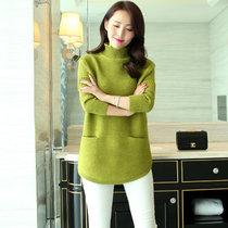 娇维安 韩版套头衫 春季外套 下摆弧形毛衣打底衫 半高领针织衫 女(绿色 均码)