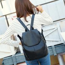 双肩包软皮女包潮2018新款背包韩版旅行包(黑色)